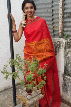 Block printed silk saree in burnt orange and mustard-0
