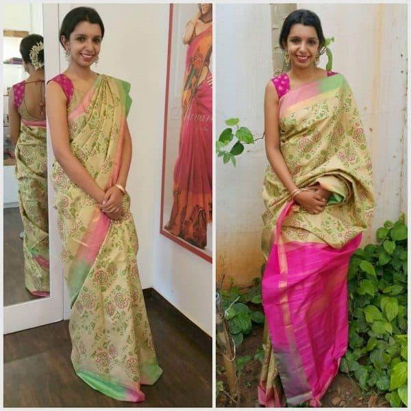 Block printed silk saree in light beige-0