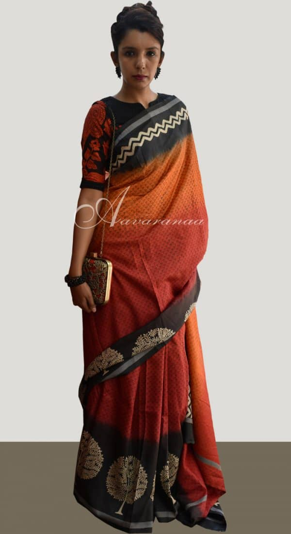 Red tussar saree-0