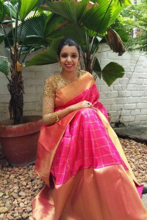 Neon pink kanchipuram silk -0