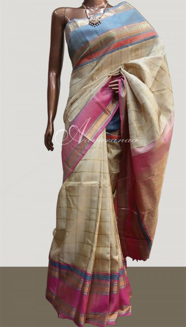 Beige with Pink& Blue Border-0