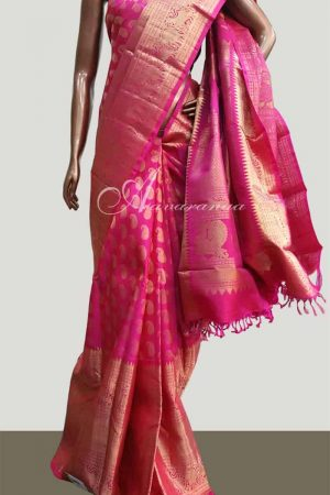 Pink long border Bridal kanchi sari-3688