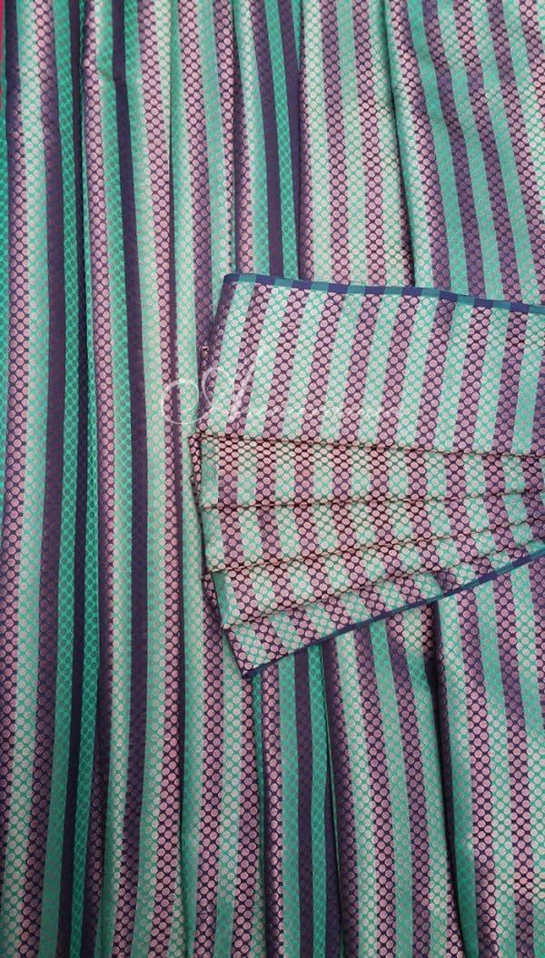Green black stripes brocade-0