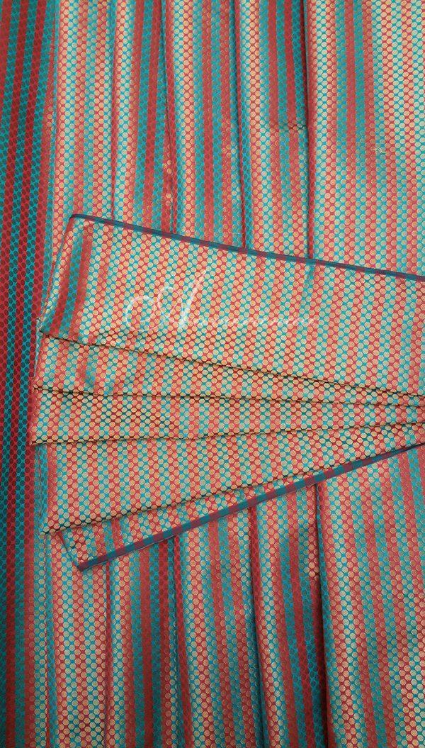 Orange & green stripes broacde-0