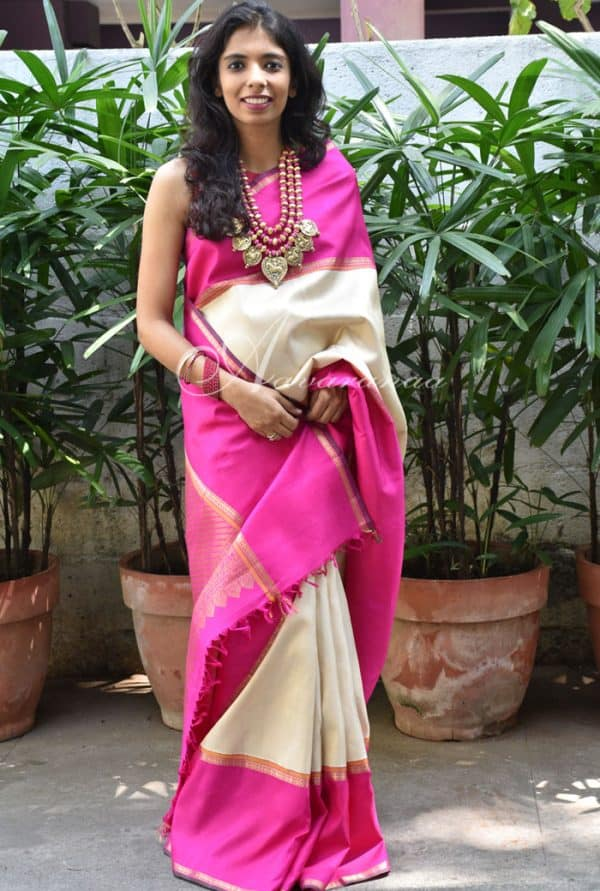 Off white&Pink Korvai sari -0