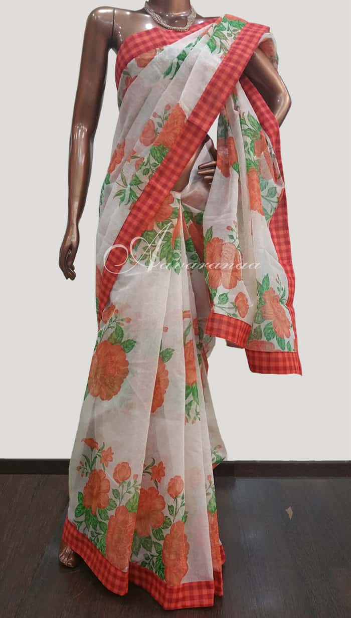 be4421a70b Off White Supernet Sari with Floral Prints - Orange and Red Checks |  Aavaranaa-3992