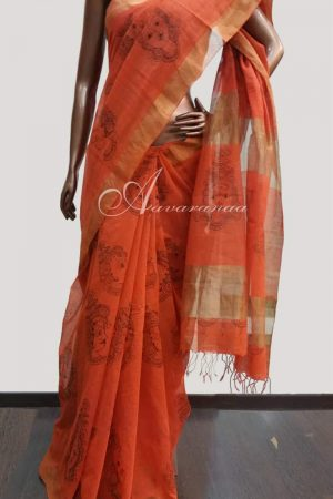 Orange Cotton Saree-0