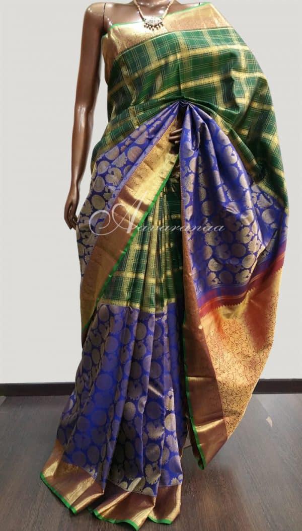 Blue green bridal sari -0