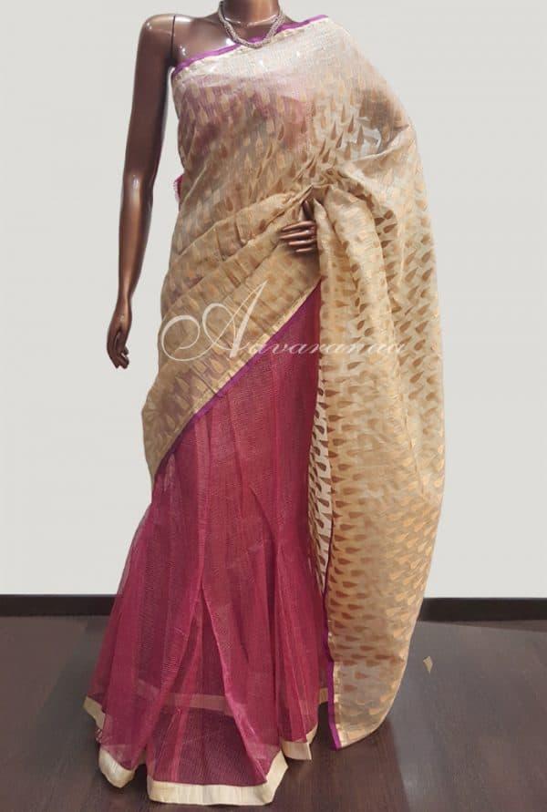 Beige&Pink Kota net Sari-0
