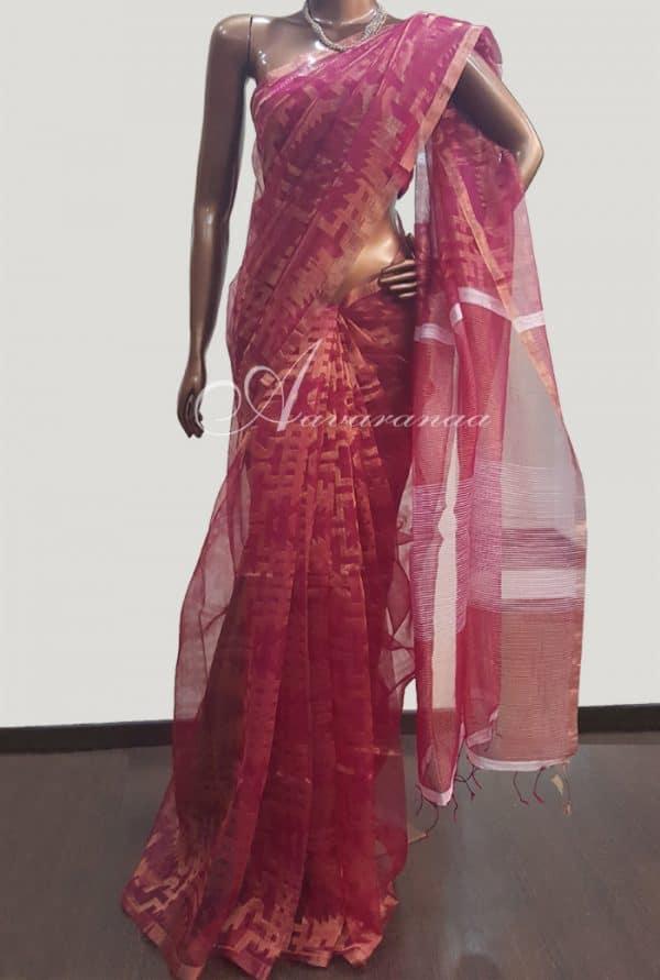 Maroon woven organza saree-4260