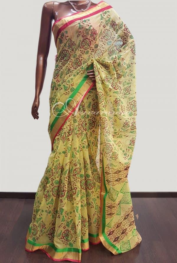 Kota printed yellow saree-4280