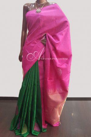Pink green half half saree-0