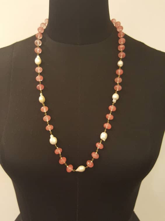 Peach and pearl necklace-0