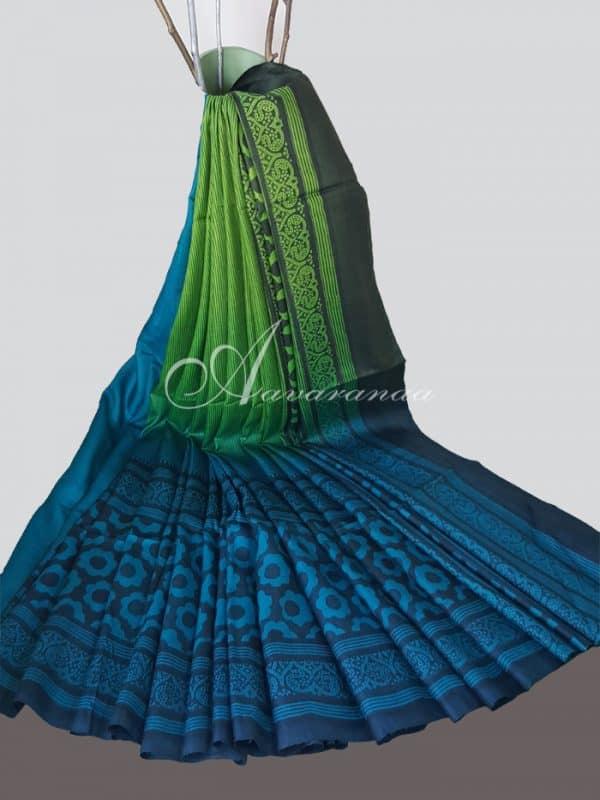 Blue green half n half tussar saree weavers studio-0