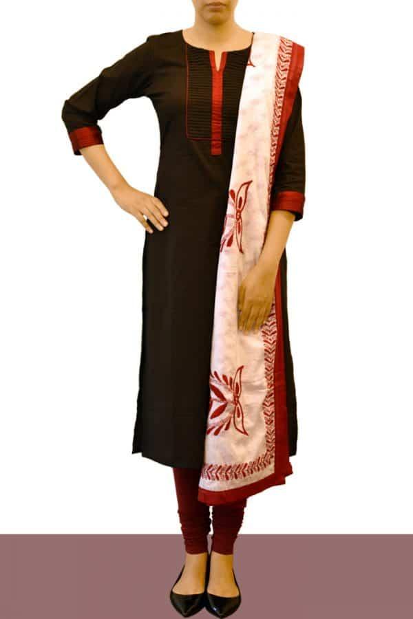 Black cotton top with kantha dupatta-0