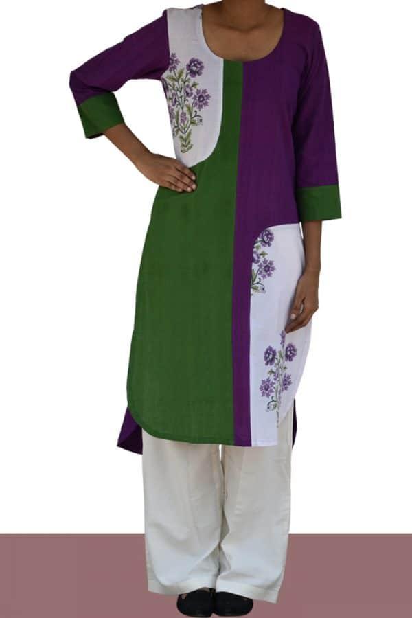 Purple and green hi&low kurta-0
