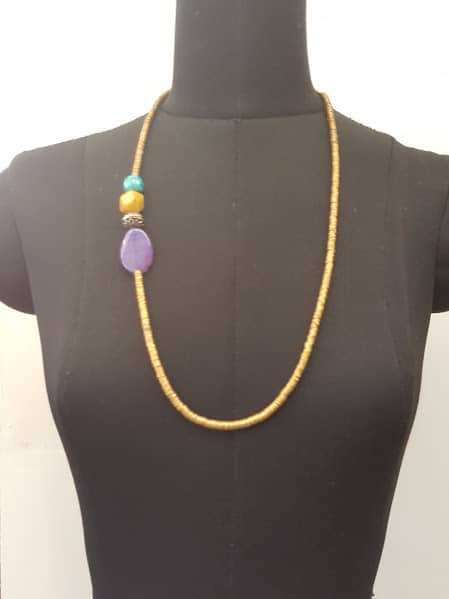 brass side pendant purple chain long -0
