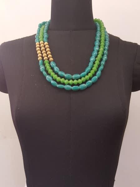 green blue brass 3 layer chain-0