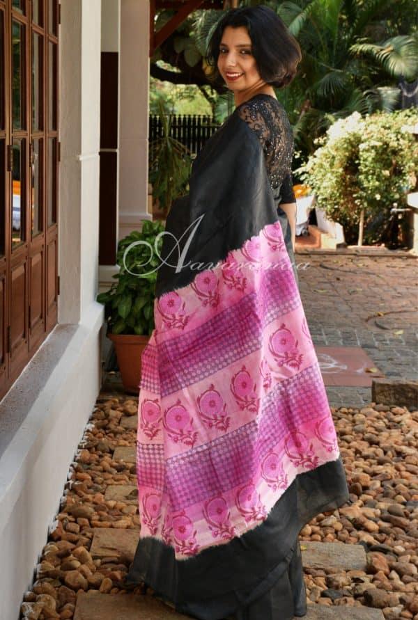 Plain black tussar and printed pallu-0