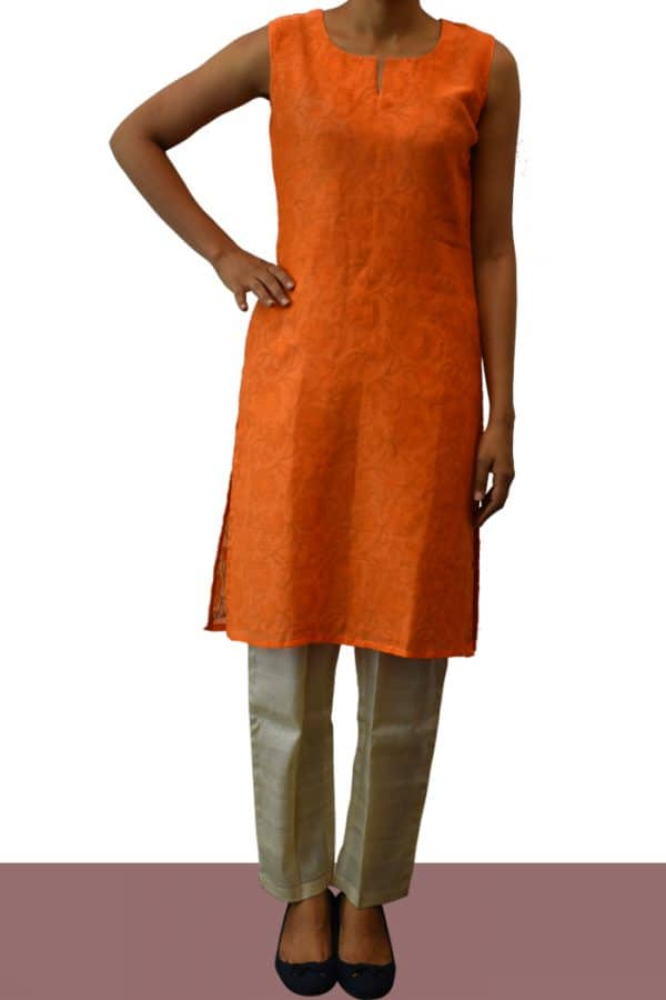 Orange chanderi kurta-0
