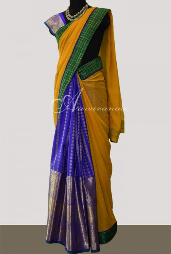 Blue silk and yellow chiffon saree-0