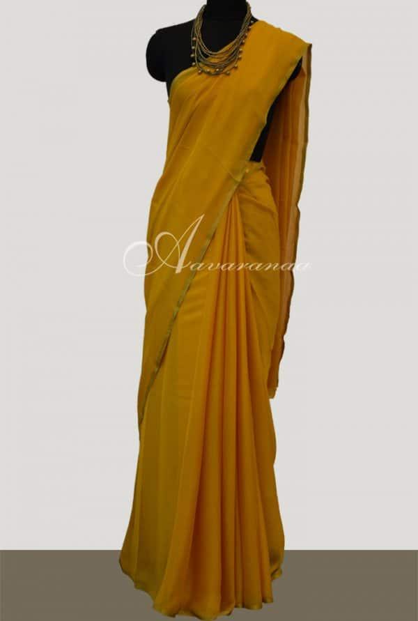 Mustard wrinkle crepe saree-5195
