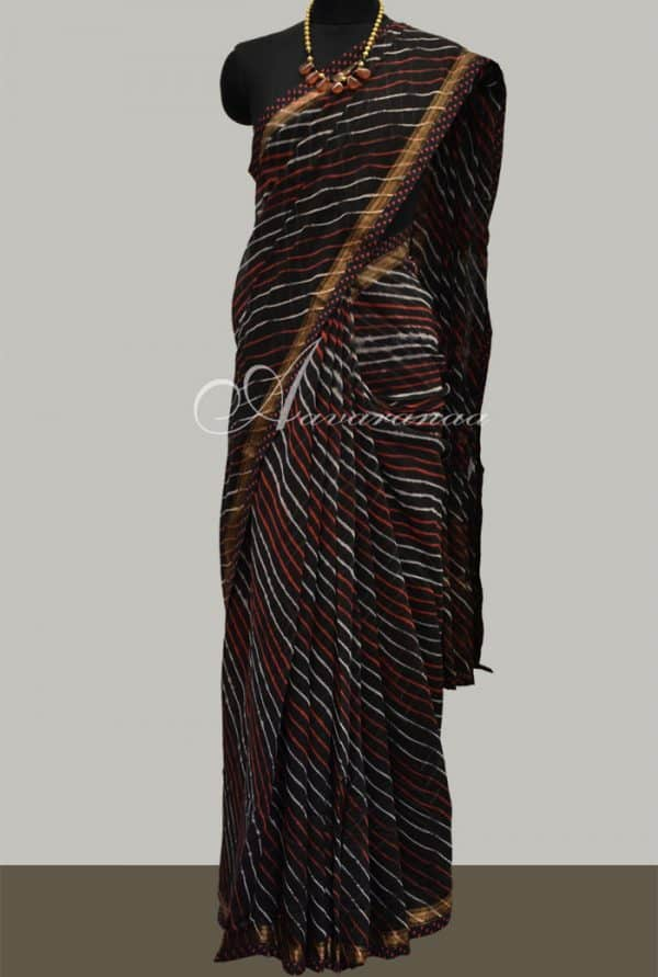 Leheriya on black chanderi sari with kalamkari pallu-5340