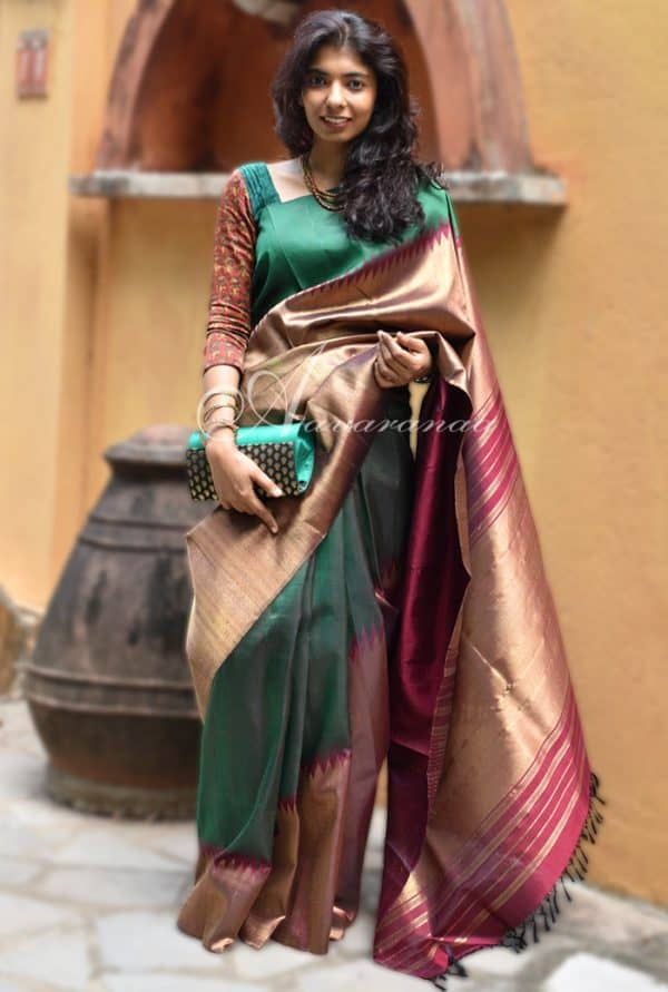 bottle green and maroon rising border kancheepuram silk saree-0
