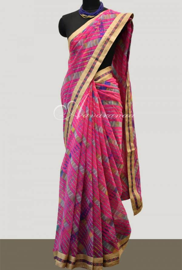 Leheriya on pink georgette saree-0