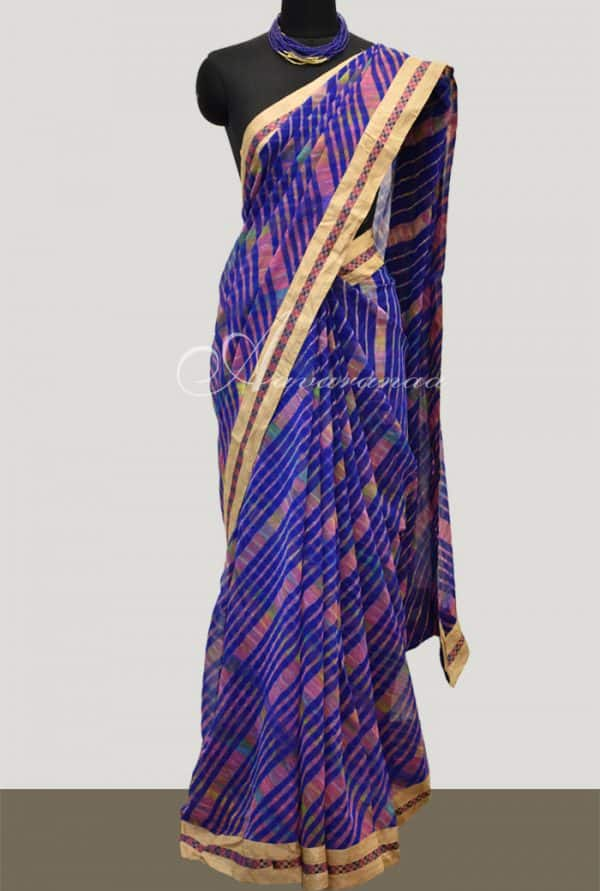 Leheriya on blue georgette saree-0