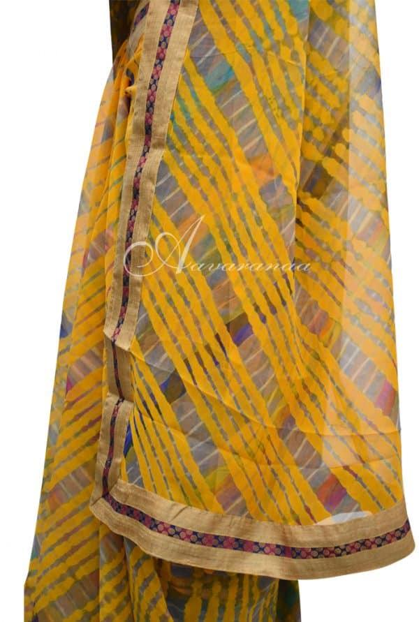 Leheriya on yellow georgette saree-5497