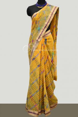 Leheriya on yellow georgette saree-0