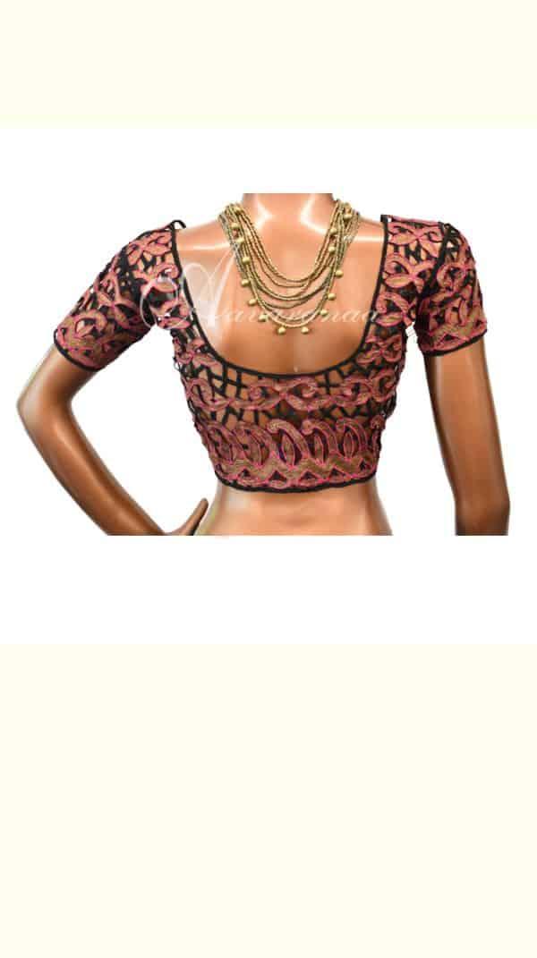 Black & Pink cutwork blouse-0