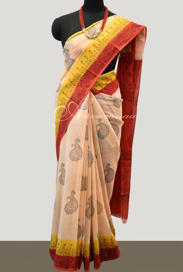 Beige Chiffon block printed sari with 2 colour border -0