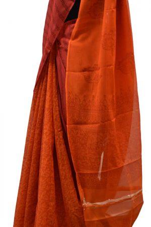 Peach and orange partly pallu chiffon saree-5606