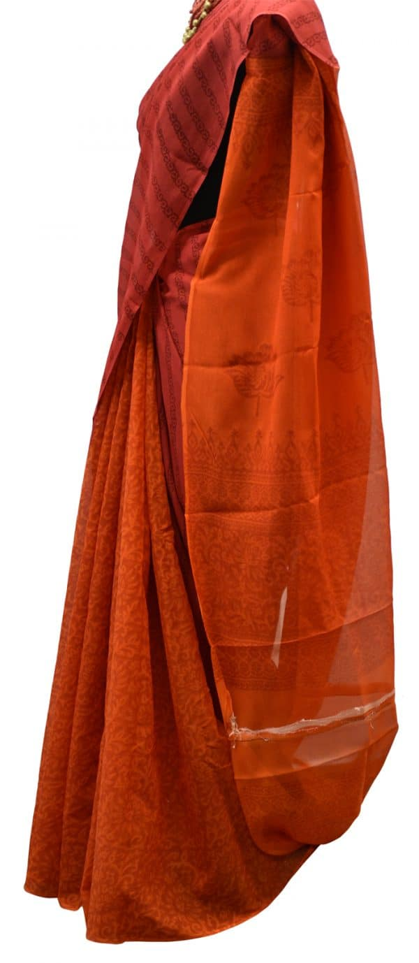 Peach and orange partly pallu chiffon saree-5606