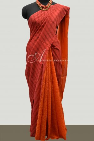 Peach and orange partly pallu chiffon saree-0