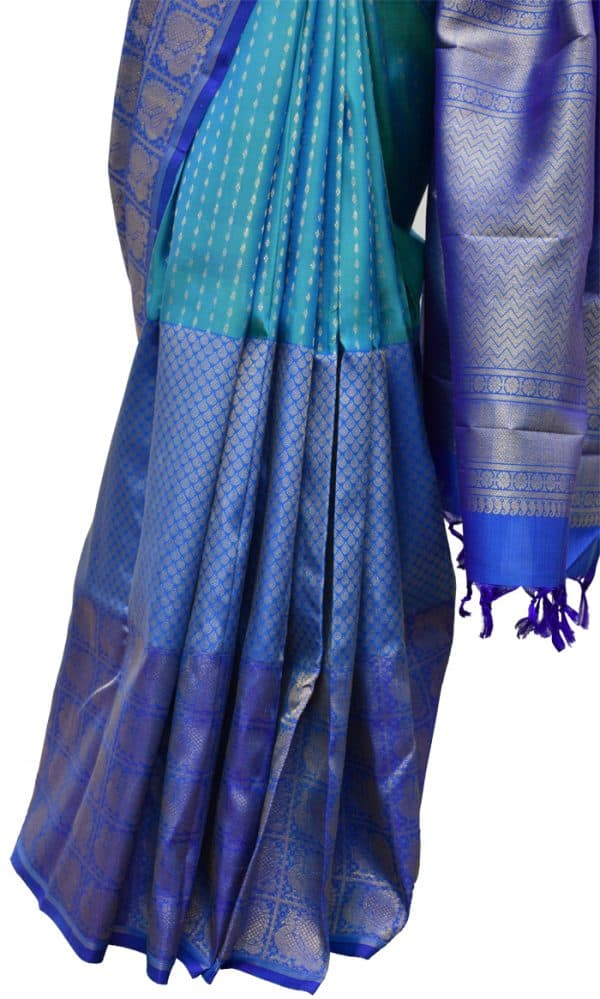 Buy Shaded Blue Kanchipuram Silk Saree | Aavaranaa-5659