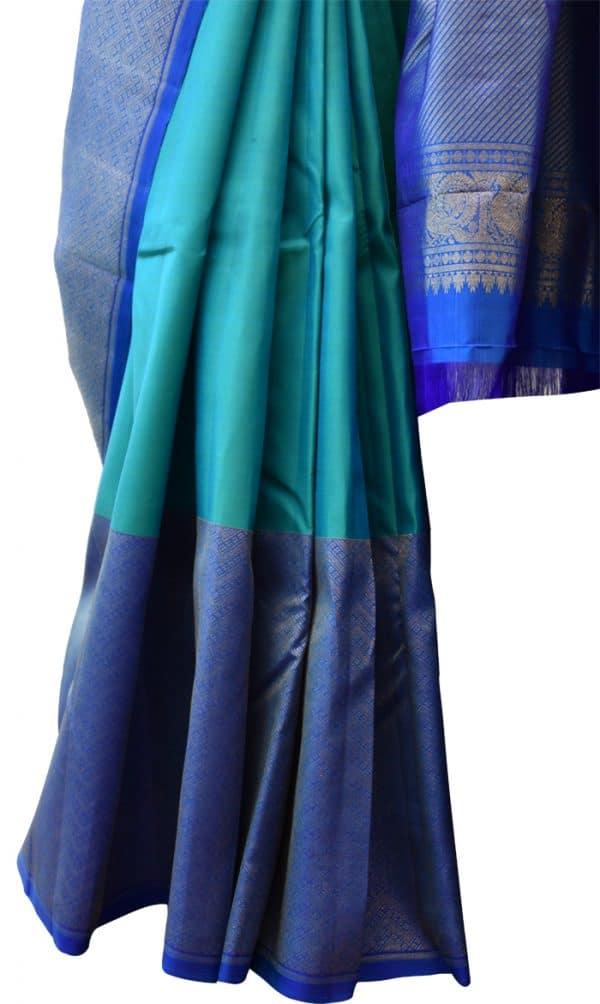 Blue one side border kanchipuram silk saree-5683