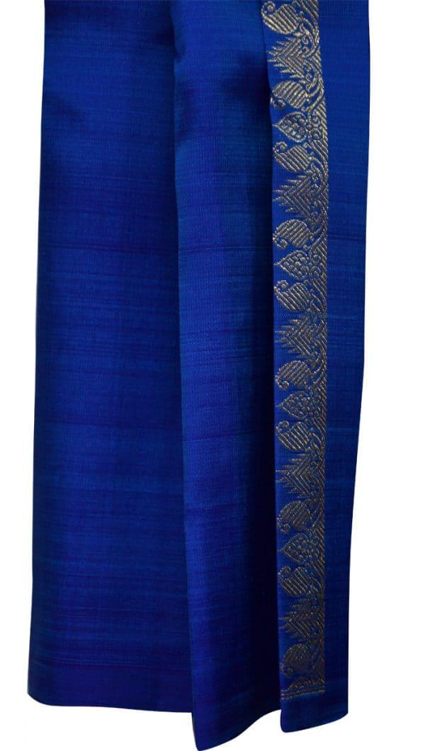 Blue one side border kanchipuram silk saree-5682