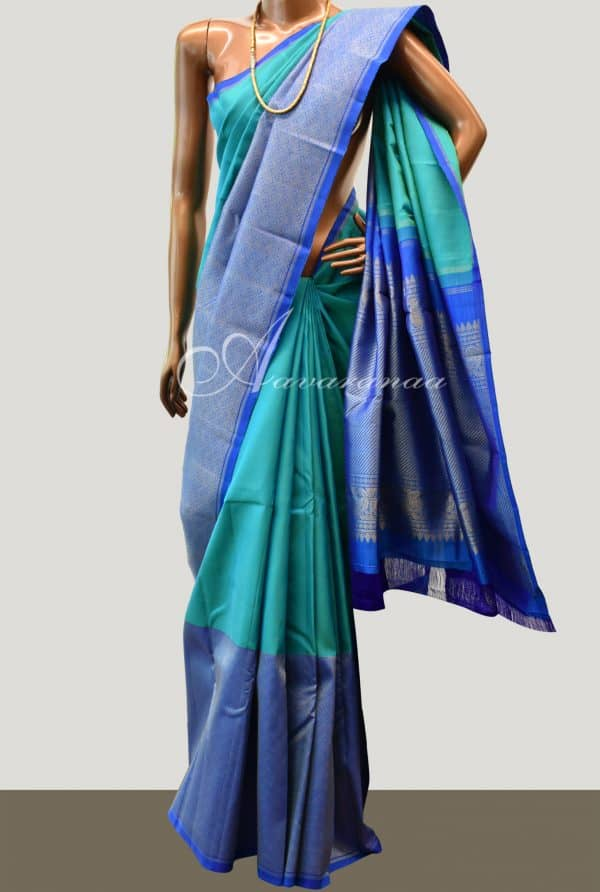 Blue one side border kanchipuram silk saree-0
