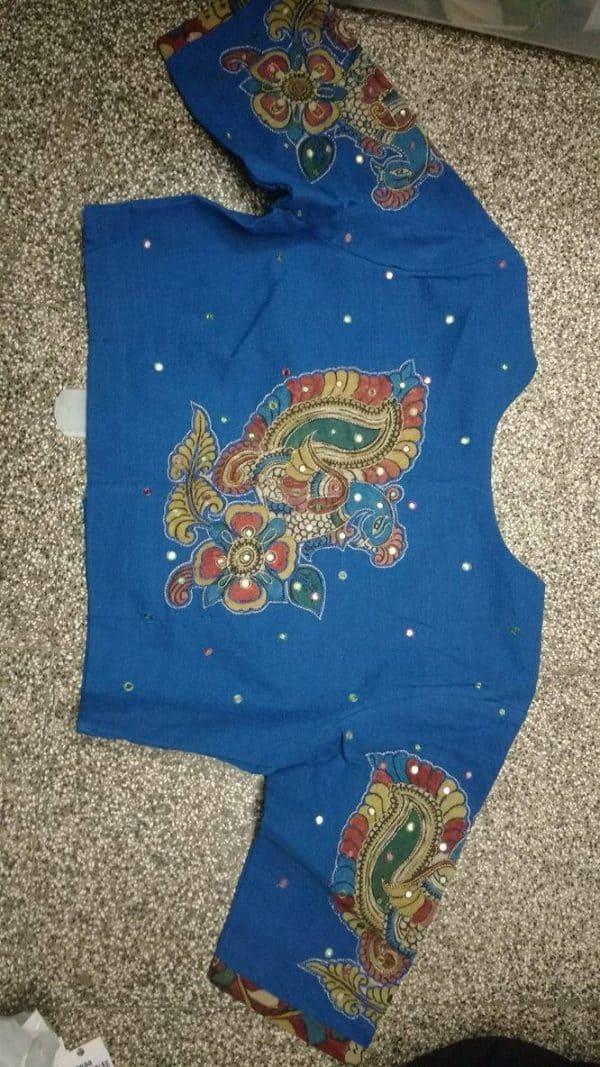 Blue cotton blouse-6728