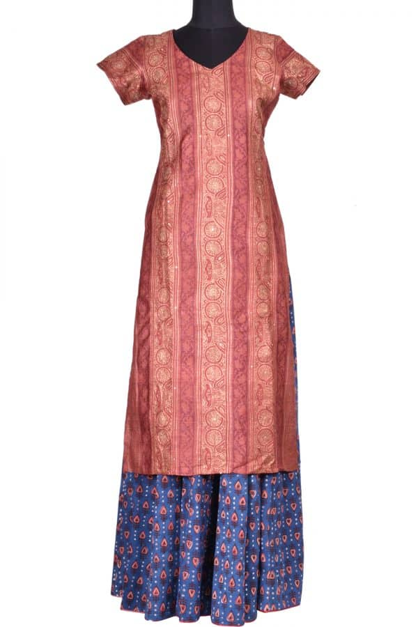 Brown tussar top and skirt-0
