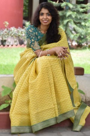 Yellow organza saree benaras blouse-0