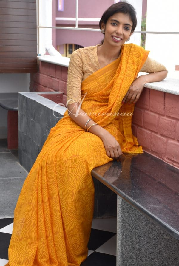 Mustard block printed chiffon saree-0