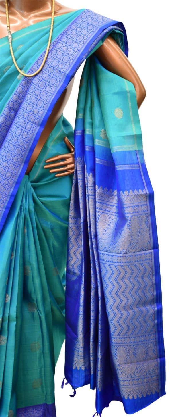 Blue kanchipuram silk saree-5711