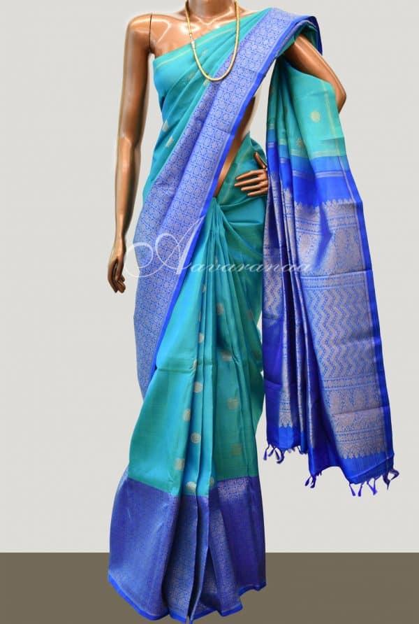 Blue kanchipuram silk saree-0