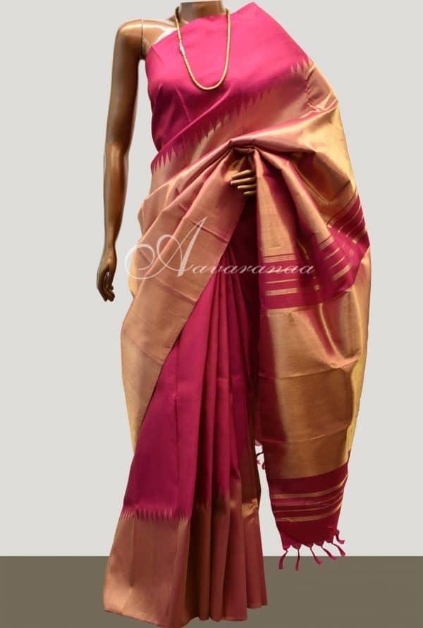 Maroon rising border kanchipuram silk saree-0