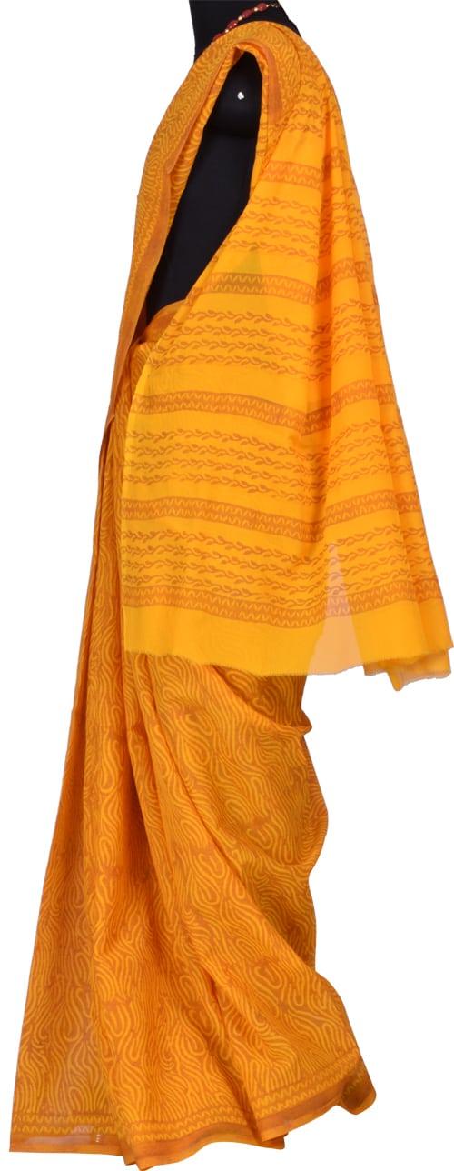 Mustard block printed chiffon saree-5872