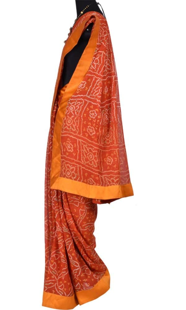 Burnt Orange bandhini saree with embroidered blouse -6514